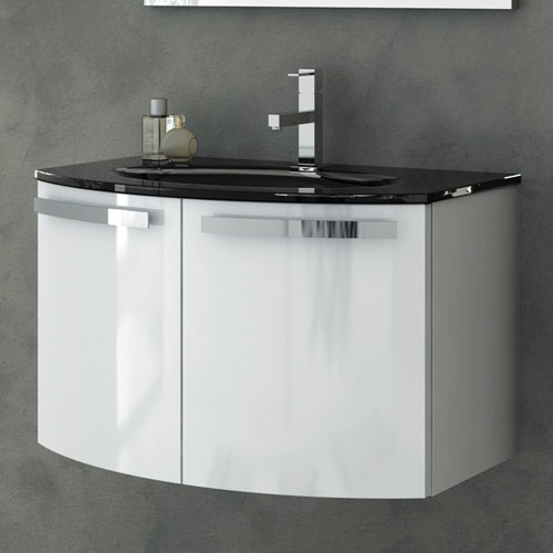 Modern 28 Inch Crystal Dance Vanity Set With Glass Sink