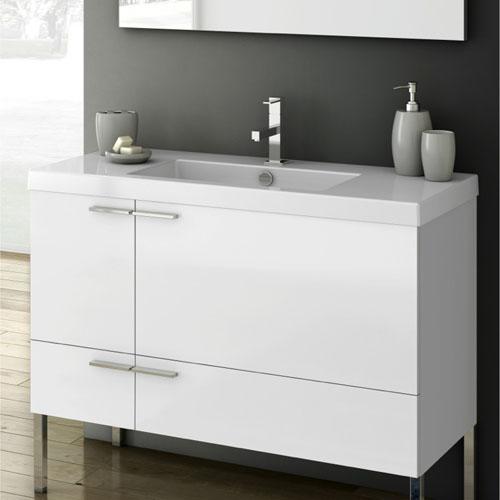 Modern 39 Inch Bathroom Vanity Set With Ceramic Sink Glossy White Zuri Furniture