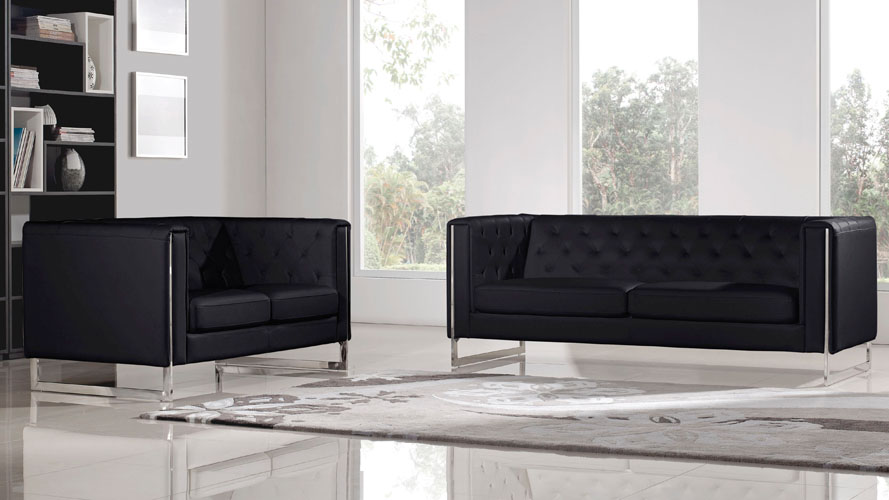 Modern Black Leatherette 2 Piece Easton Sofa Set With Stainless Steel Legs  | Zuri Furniture