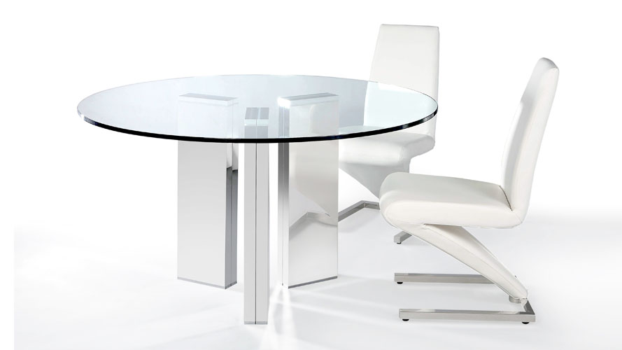 Modern Clear Gl Top With Chrome Base Constance Dining Table Zuri Furniture