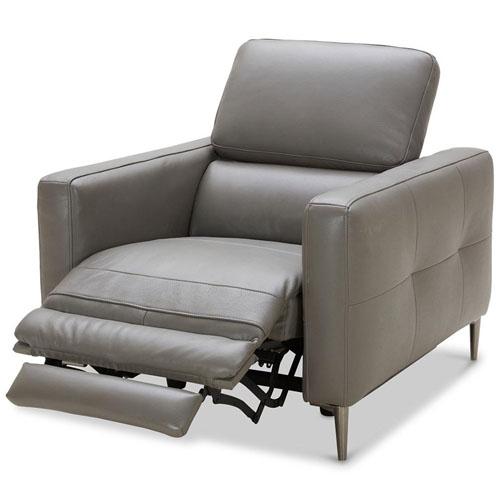 Modern Grey Leather Reno Reclining Chair Zuri Furniture