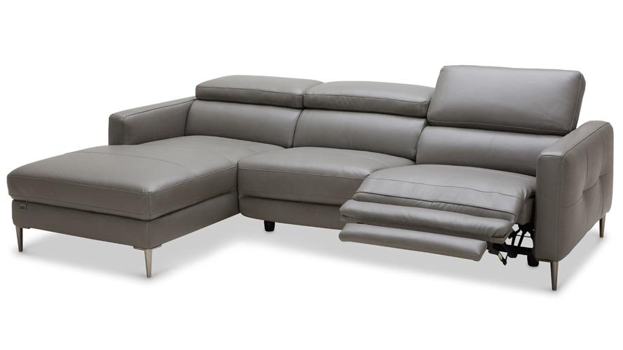 Modern Grey Leather Reno Sectional With Power Recliner