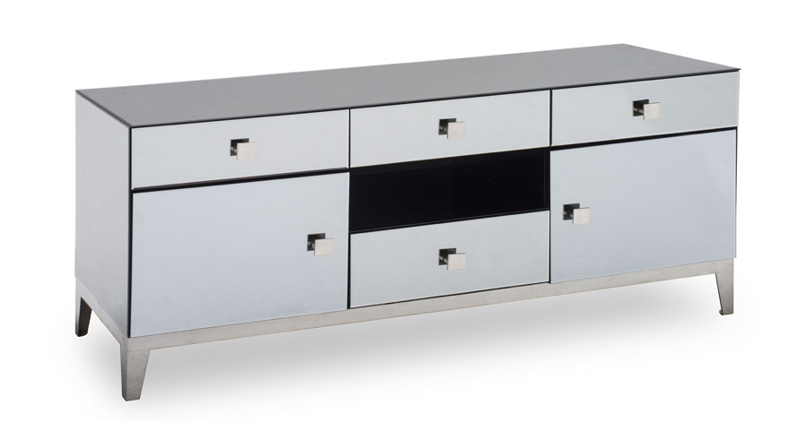 Modern Grey Mirrored Glass Berlin Tv Stand Zuri Furniture