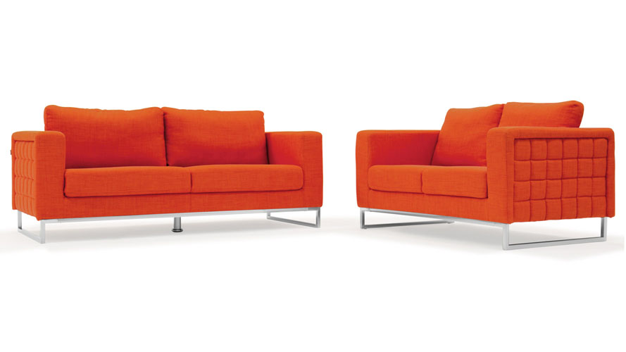 Modern Orange Fabric Upholstered 2 Piece Sofa Set With