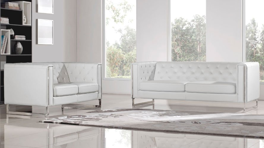 Modern White Leatherette 2 Piece Easton Sofa Set With Stainless Steel Legs  | Zuri Furniture