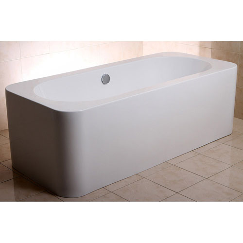 Modern white rectangular kiran drop in alcove bathtub for Drop in tub sizes