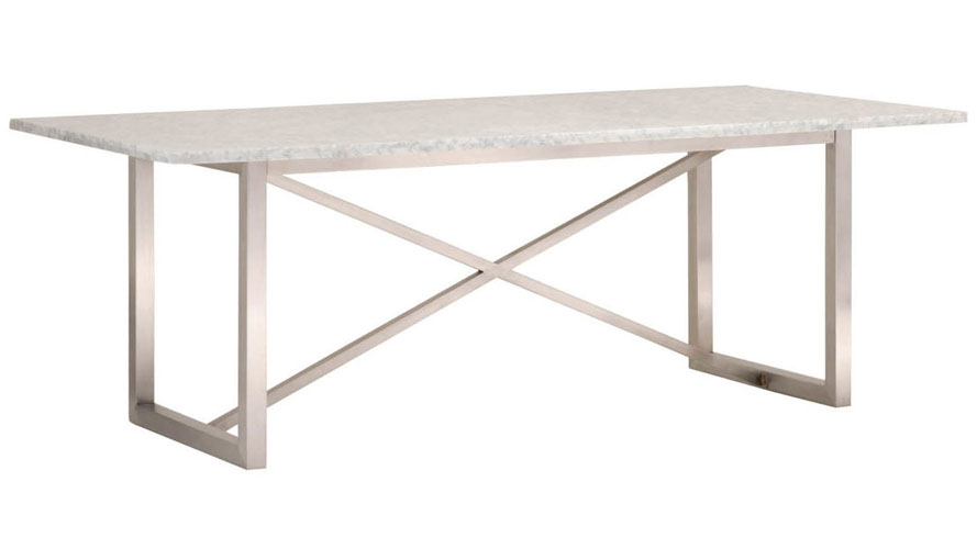avenza white marble dining table with steel base white zuri furniture - White Marble Dining Table