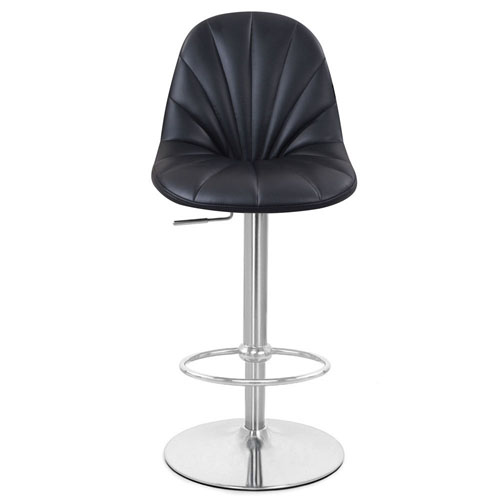 Modern Newspaper Print Fabric And Chrome Post Bar Stool