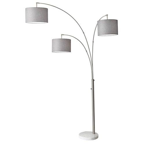 Modern bowery 3 arm arc lamp brushed steel zuri furniture