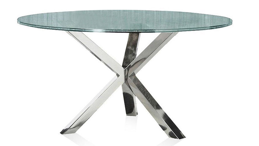 Cointet 60 Inch Round Dining Table Crackle Glass Zuri
