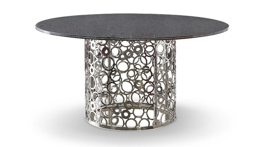 Galileo 60 Inch Smoked Crackle Glass Dining Table Zuri