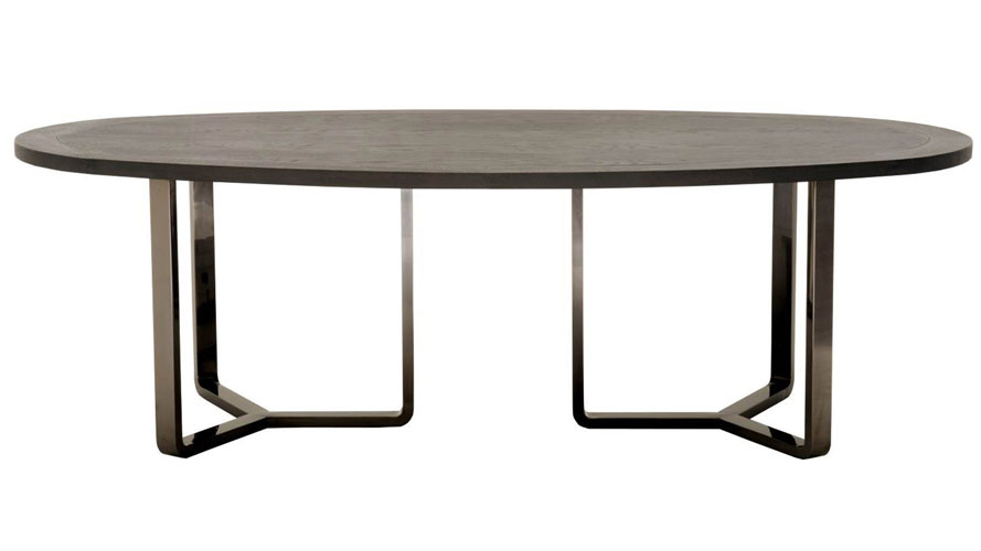 Jaffa Oval Oak Dining Table With Stainless Steel Base Black Zuri Furniture