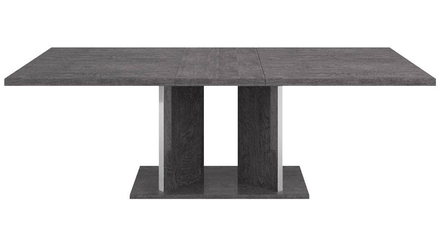Modern Marquis Extension Dining Table Grey Birch High Gloss Lacquer Zuri Furniture