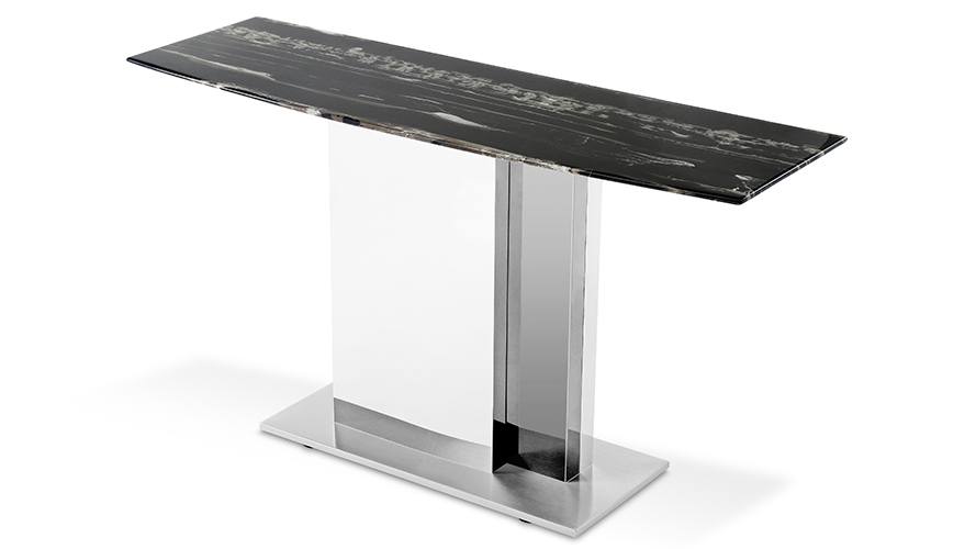 Modern Nero Console Table With Marble Top And Polished