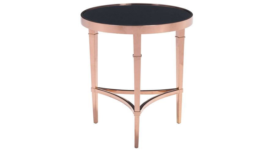Black Glass Side Table: Modern Pascale Glass Side Table Rose Gold & Black