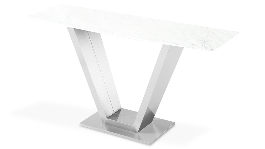 Modern Port Console Table With Carrara Marble Top And Stainless Steel Base  | Zuri Furniture