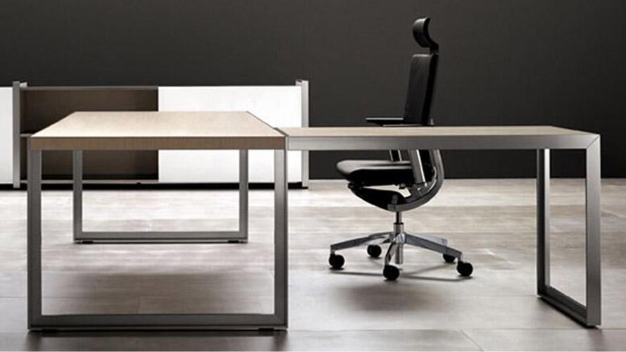 Modern Oikos L Shaped Desk With Metal Leg Natural Maple Zuri Furniture