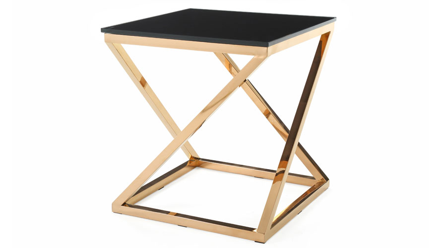 Modern Rose Gold and Black Glass Geo End Table Zuri Furniture
