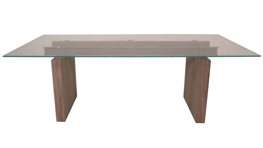 Modern Trestle Dining Table Driftwood Base 12mm Tempered Super Clear Glass  Top | Zuri Furniture