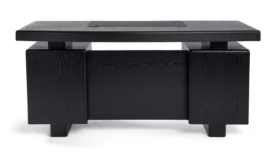 Monroe Black Wood Executive Desk Modern Amp Contemporary