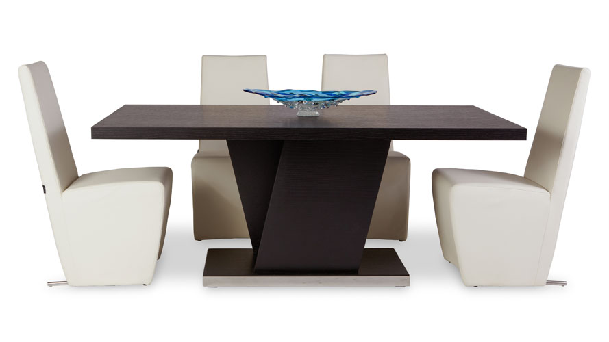 Nelson Espresso Wood Modern Dining Table With Chrome Accent Zuri Furniture