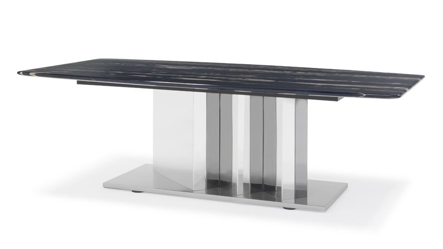 Nero Black And White Marble Coffee Table With Polished Stainless Steel Base  | Zuri Furniture