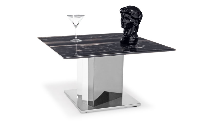 Nero Black And White Marble End Table With Polished