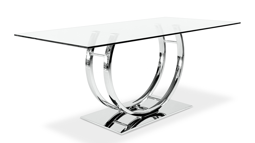 palazzo glass modern dining table with polished chrome base zuri furniture. Black Bedroom Furniture Sets. Home Design Ideas