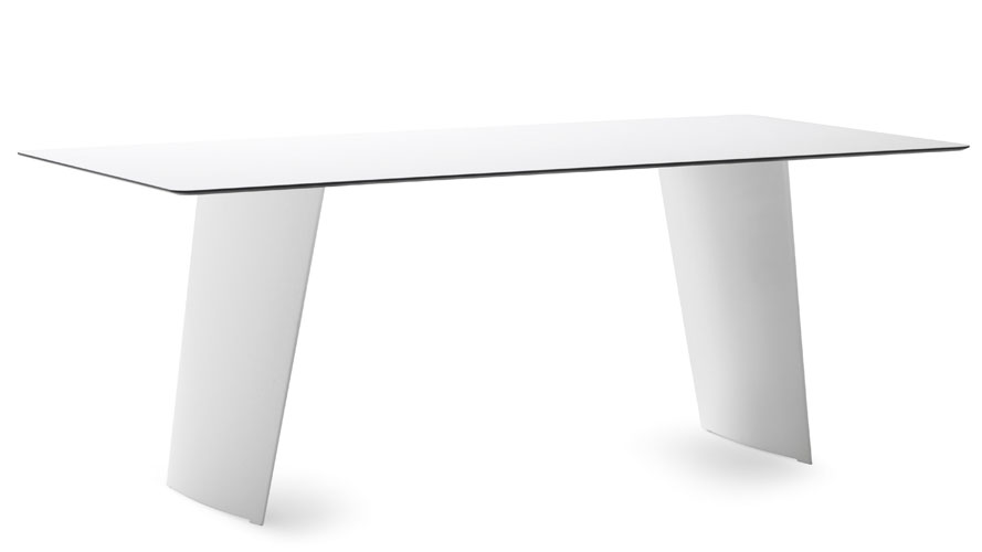 Petra High Gloss White Rectangular Dining Table Zuri