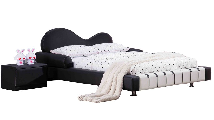 Leather Twin Bed Part - 26: Piano Leather Upholstered Black And White Kidu0027s Twin Bed | Zuri Furniture