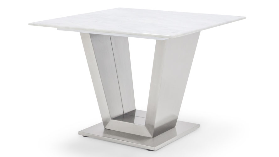 Modern Port End Table Gray And White Mable Brushed Stainless Steel Zuri Furniture