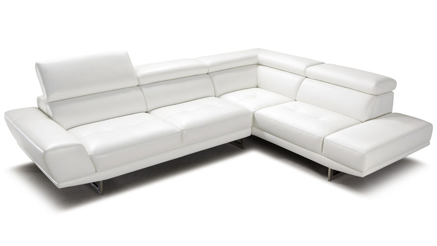 Posh White Top Grain Leather Modern Corner Sectional Sofa with