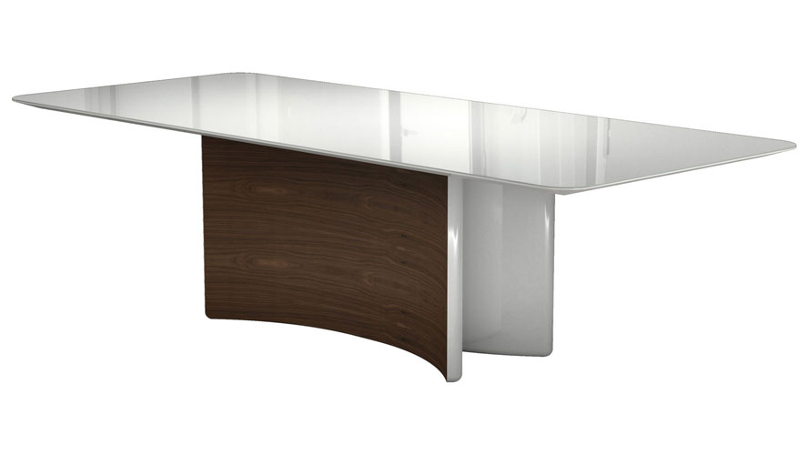 Rakel White Glass And Walnut Wood Dining Table Zuri Furniture - Glass or wood dining table