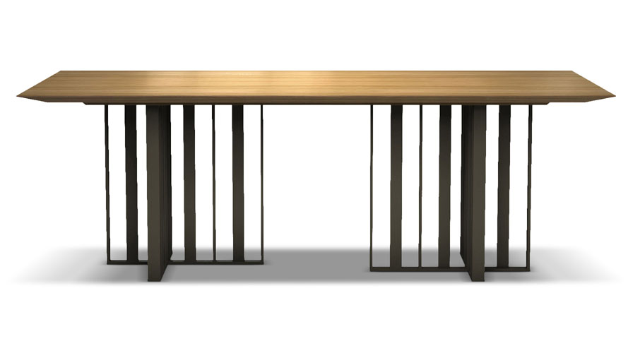 Saida  Inch Wood And Aluminum Dining Table Natural Oak On - Aluminum dining table