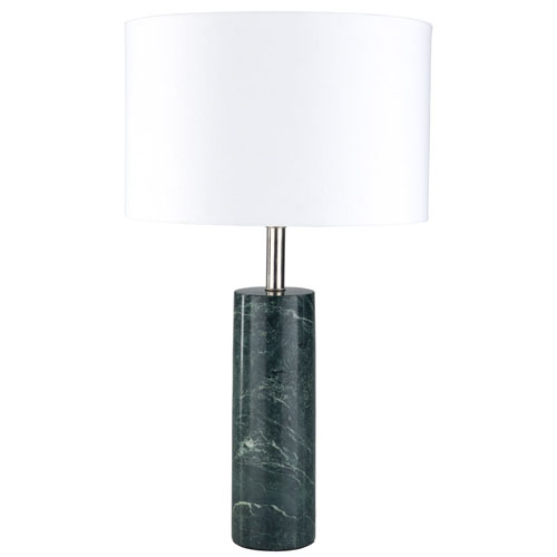 Sonete Green Marble Base And White Cotton Shade Table Lamp Zuri