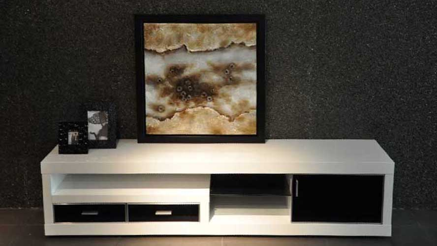 Dark Wood And White Lacquer Sullivan 71 Quot Inch Tv Stand