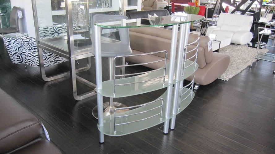 Taboo Metal And Glass Modern Bar With Shelving Zuri