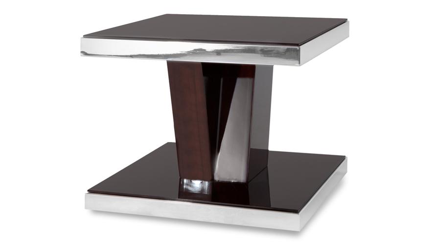 Tribeca Dark Wood And Mirrored Chrome Side Table Zuri