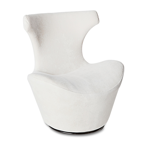 Wedge Modern Swivel Occasional Chair White Zuri Furniture
