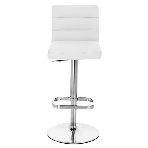 White Lush Adjustable Height Swivel Armless Bar Stool With