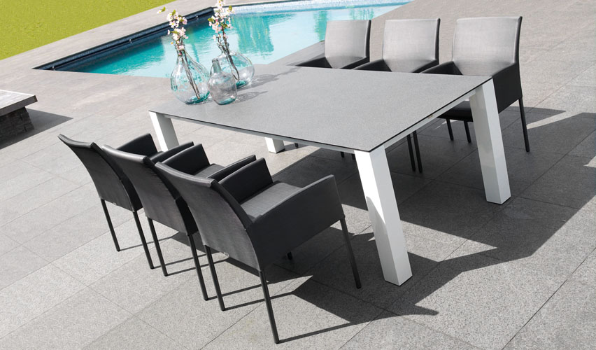 aluminum patio furniture dining sets white outdoor table expandable set with grey cushions