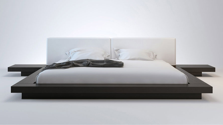 White Leather And Wenge Brookline King Platform Bed