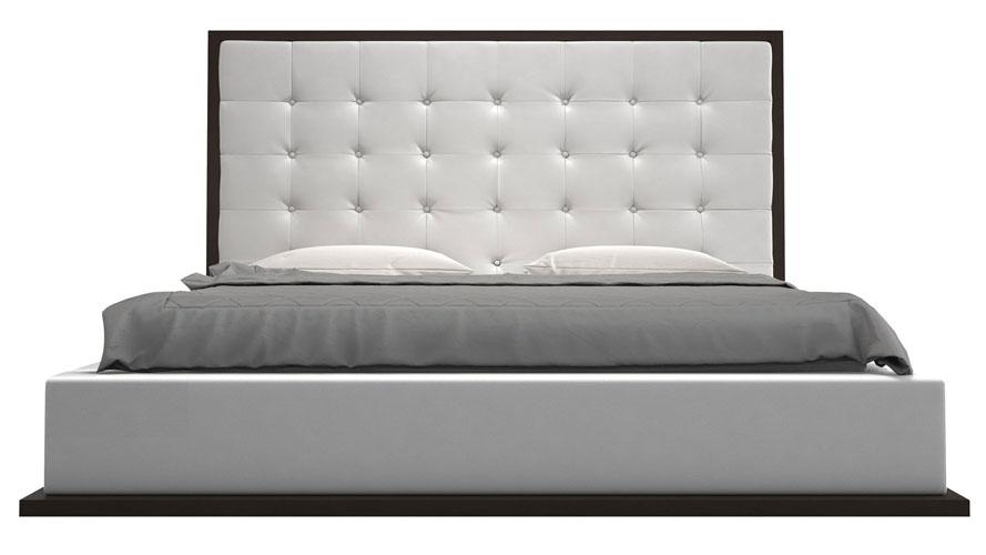 Siena Platform Bed White Leatherette On Wenge Zuri