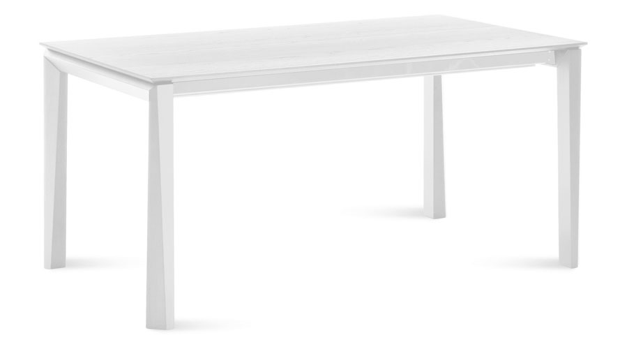 Extendable Rectangular White Matte Lacquer Cortona Dining Table - White rectangular dining table