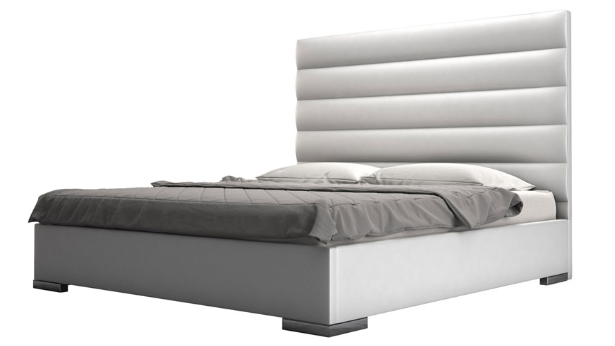 Reina White Panel Tufted Leatherette Platform Bed Zuri