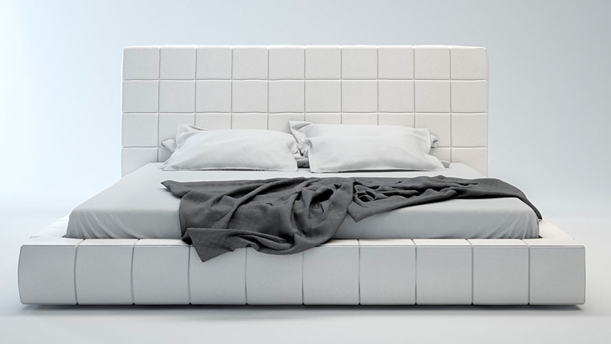 White Leather Platform Bed 888 x 500