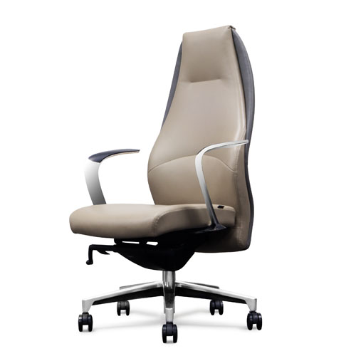 Wrigley Genuine Leather Aluminum Base High Back Executive Chair Light Grey