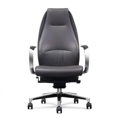 Wrigley Leather Executive Chair   Dark Grey With Black Accent