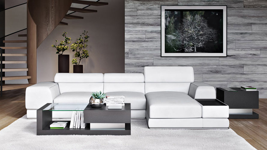 Encore White Leather Sectional Sofa Zuri Furniture