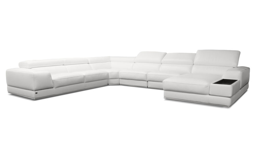 Wynn White Leather Sectional Sofa With Adjustable Headrests